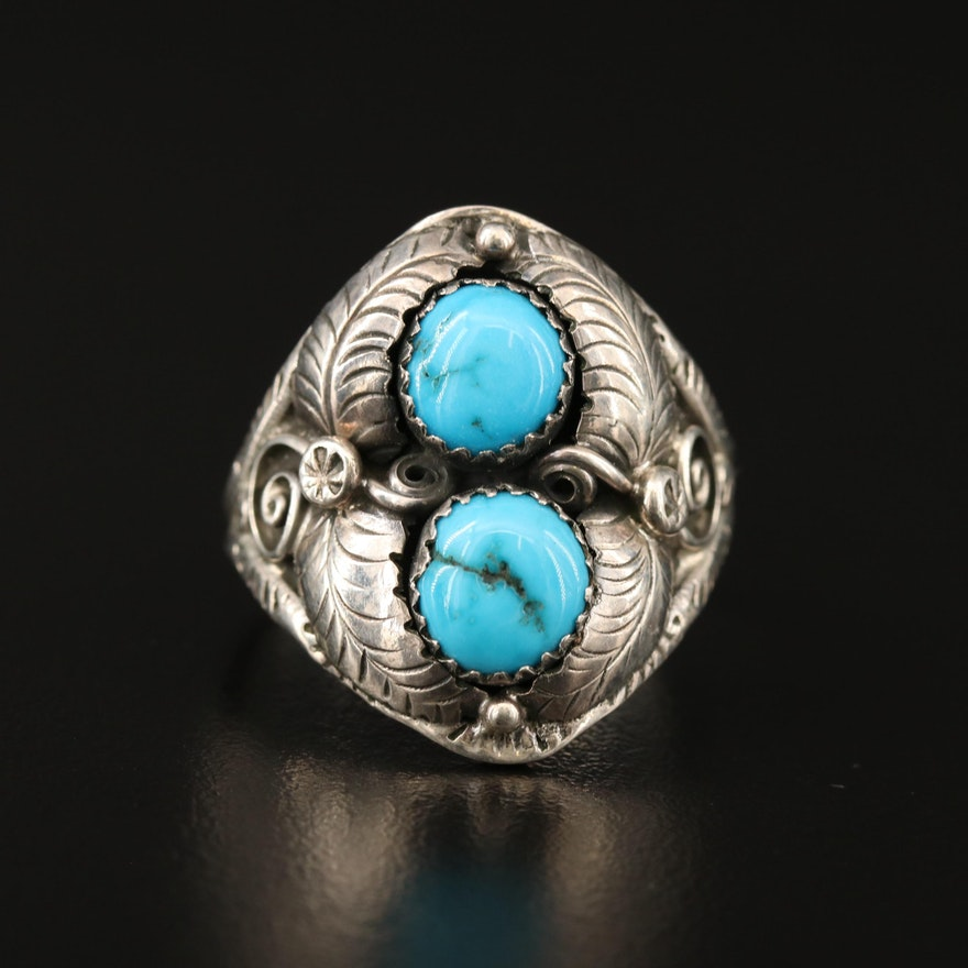 Signed Southwestern Style Sterling Silver Turquoise Ring with Applique Work