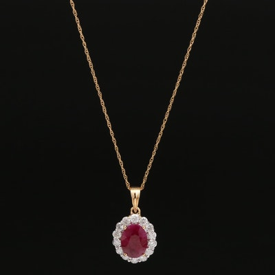 18K 2.10 CT Ruby and Diamond Halo Pendant Necklace