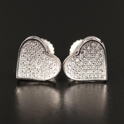 14K Pavé Diamond Heart Stud Earrings