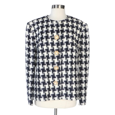 Louis Féraud Houndstooth Jacket in Navy and Cream