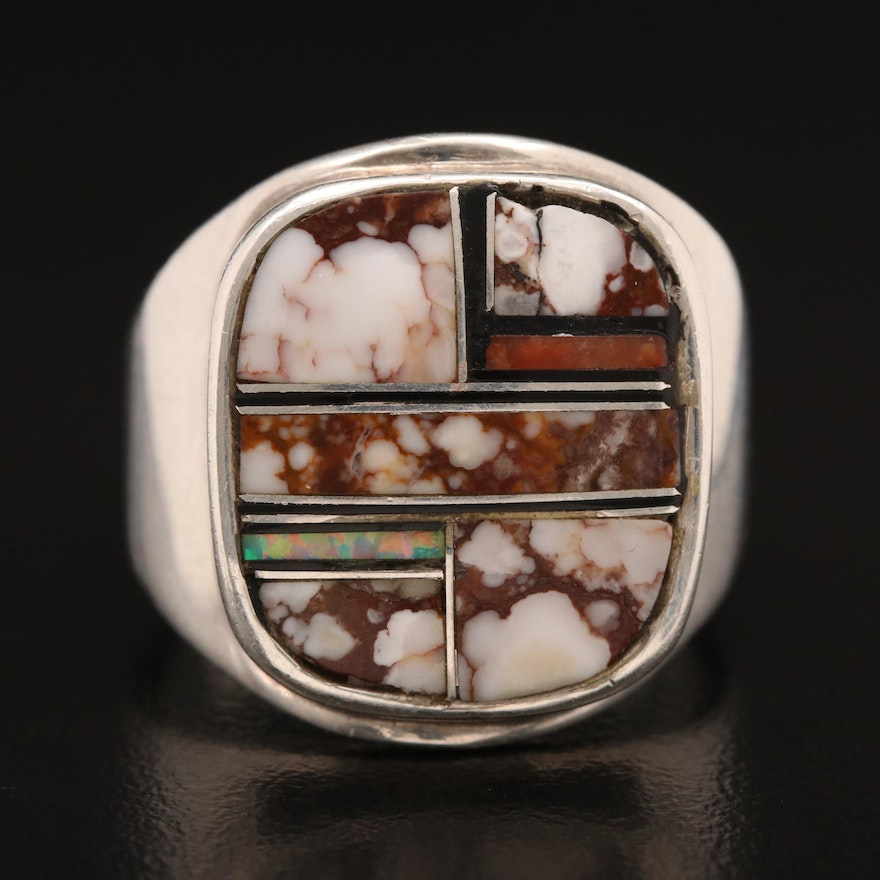 Signed Western Sterling Inlaid Turquoise Ring