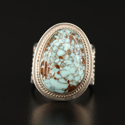 Stanley Parker Navajo Diné and Pete Sanchez Isleta Sterling Turquoise Ring