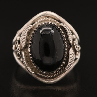 Richard Begay Navajo Diné Sterling Black Onyx Ring Featuring Appliqué Work