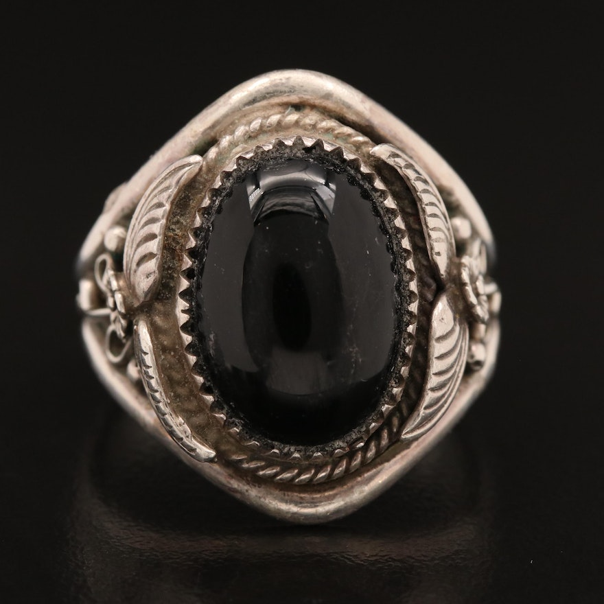 Richard Begay Navajo Diné Sterling Black Onyx Ring Featuring Appliqué Work