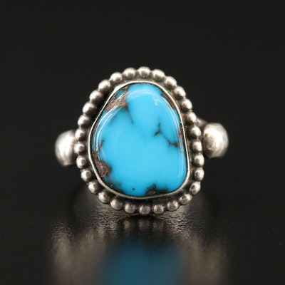 Jeanette Dale Navajo Diné Sterling Turquoise Ring with Granulated Edges