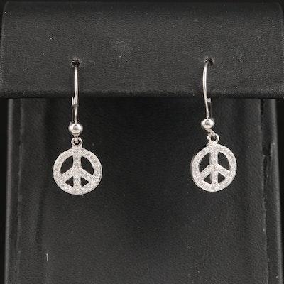 14K Diamond Peace Symbol Dangle Earrings
