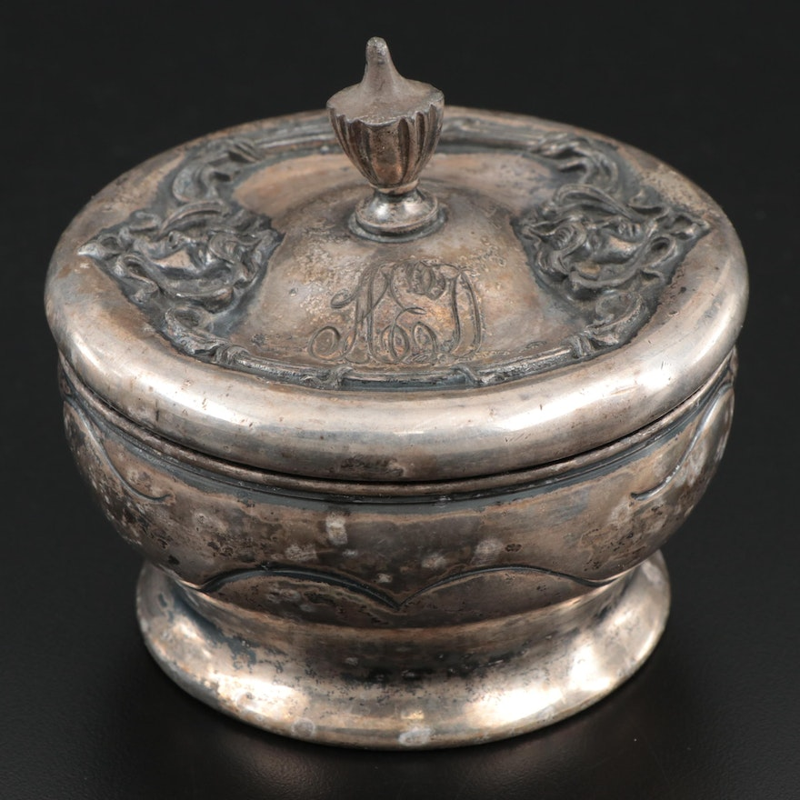 Derby Silver Plate Art Nouveau Powder Jar, Late 19th-Early 20th Century
