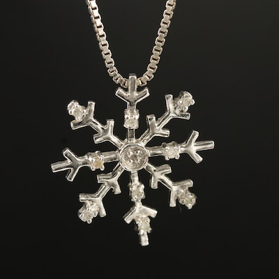 Sterling Diamond Snowflake Pendant Necklace