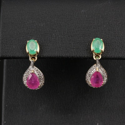14K Emerald, Ruby and Diamond Dangle Earrings