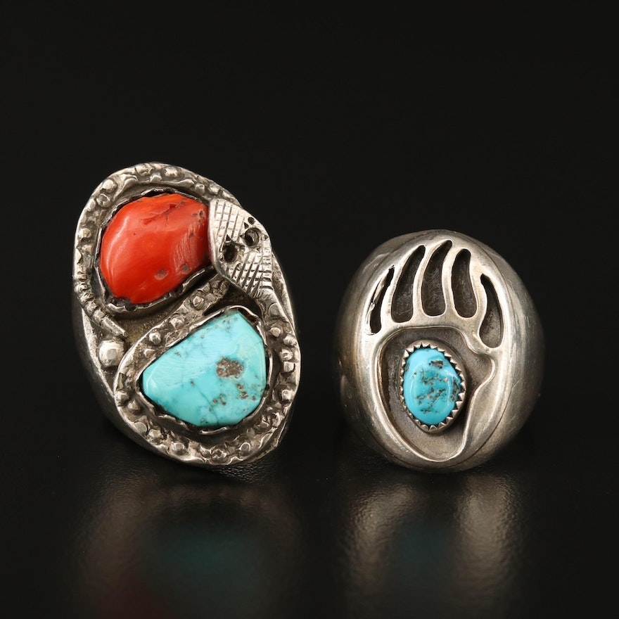 Western Style Sterling Silver Turquoise and Coral Rings with Snake and Bear Claw