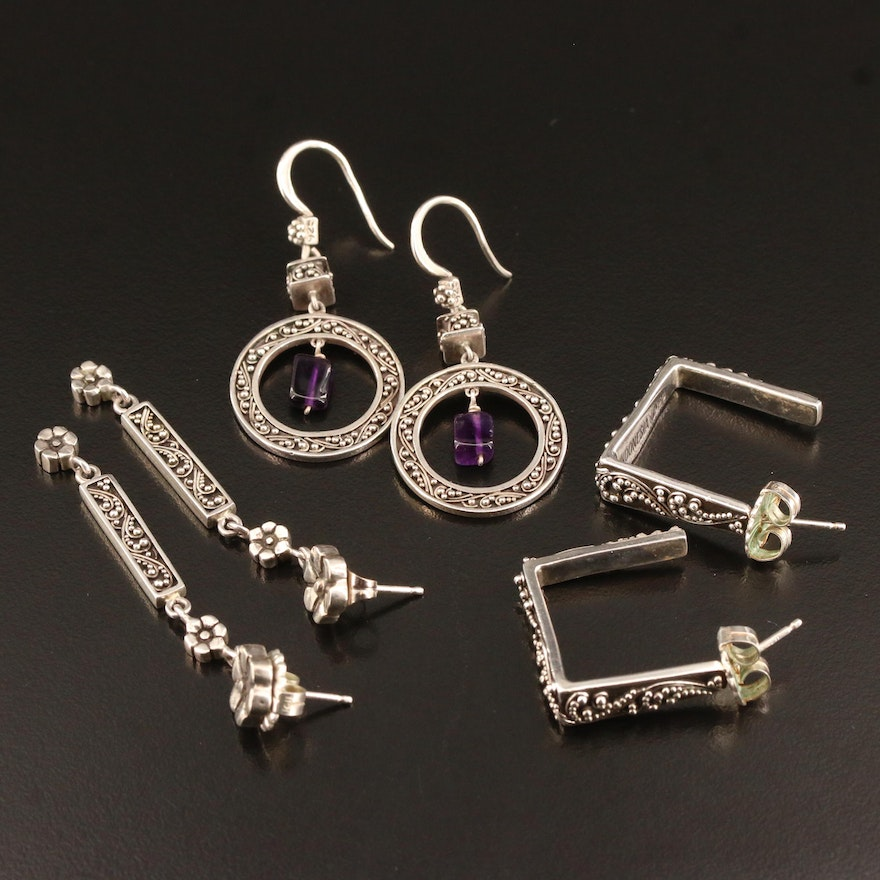 Lois Hill Sterling Silver Earrings Featuring Amethyst and Granulation Detail