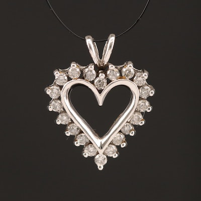 10K Heart Pendant with Diamond Halo