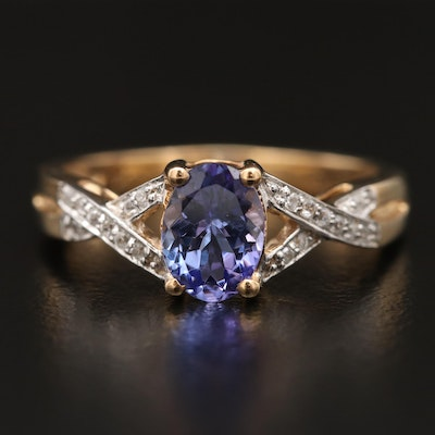 10K Tanzanite and Zircon Twist Shank Ring