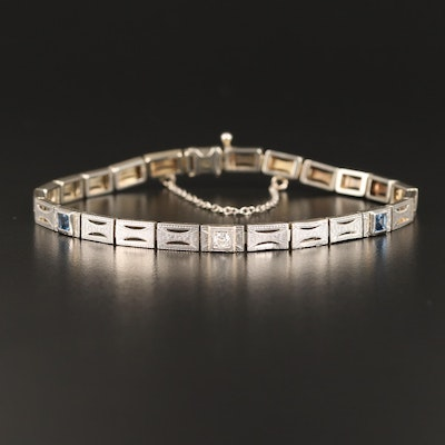Vintage 18K Diamond and Sapphire Bracelet with Platinum Trim