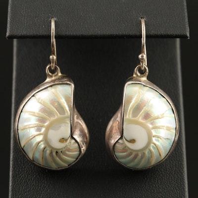 Sterling Silver Shell Dangle Earrings