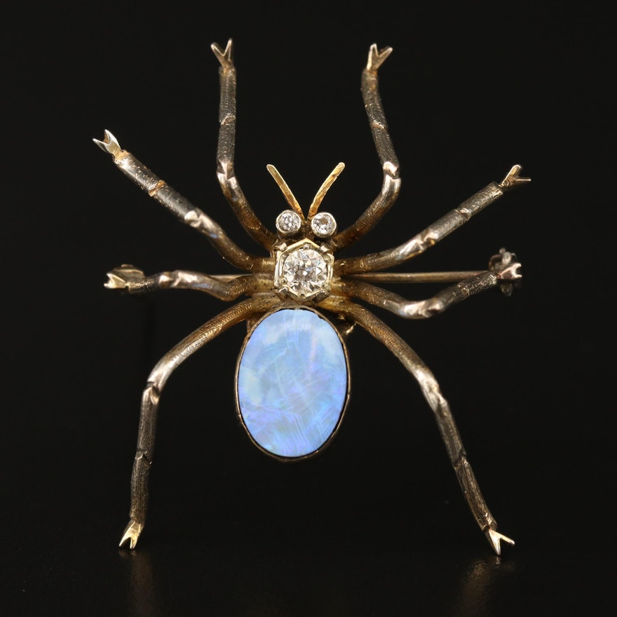 Opal Doublet and Diamond Spider Motif Brooch