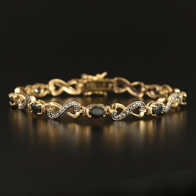 Sterling Sapphire and Diamond Infinity Bracelet