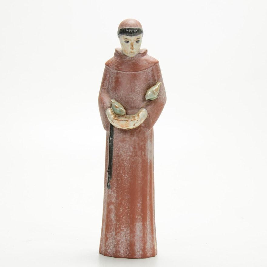 Nicodemus Ferro-Stone Art Pottery St. Francis Figurine