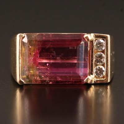 14K Parti-Colored Tourmaline Ring with Diamond Accents