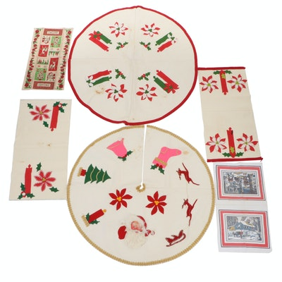 Christmas Tree Skirts with Festive Towels and Table Scarves
