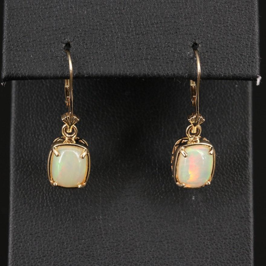 14K Opal Dangle Earrings