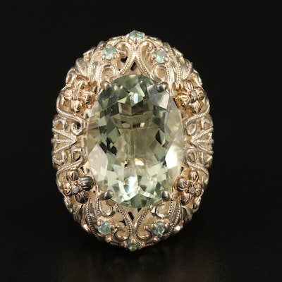 Sterling Prasiolite, Sapphire and Diamond Floral Openwork Ring with 14K Accent