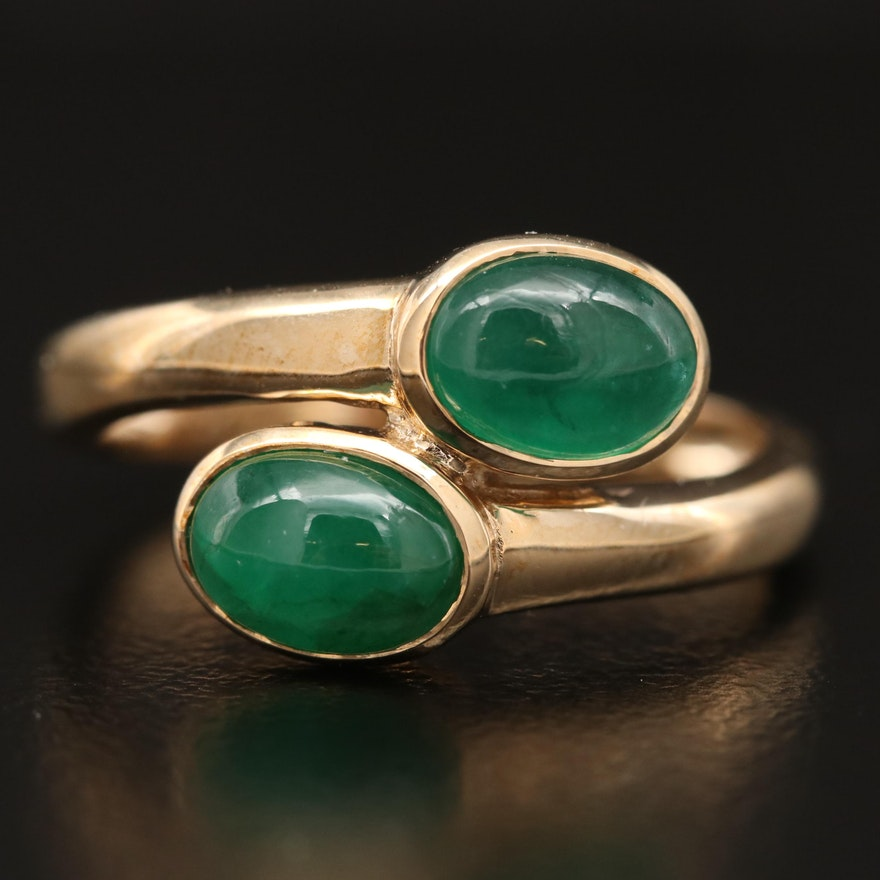 10K Emerald Bypass Ring