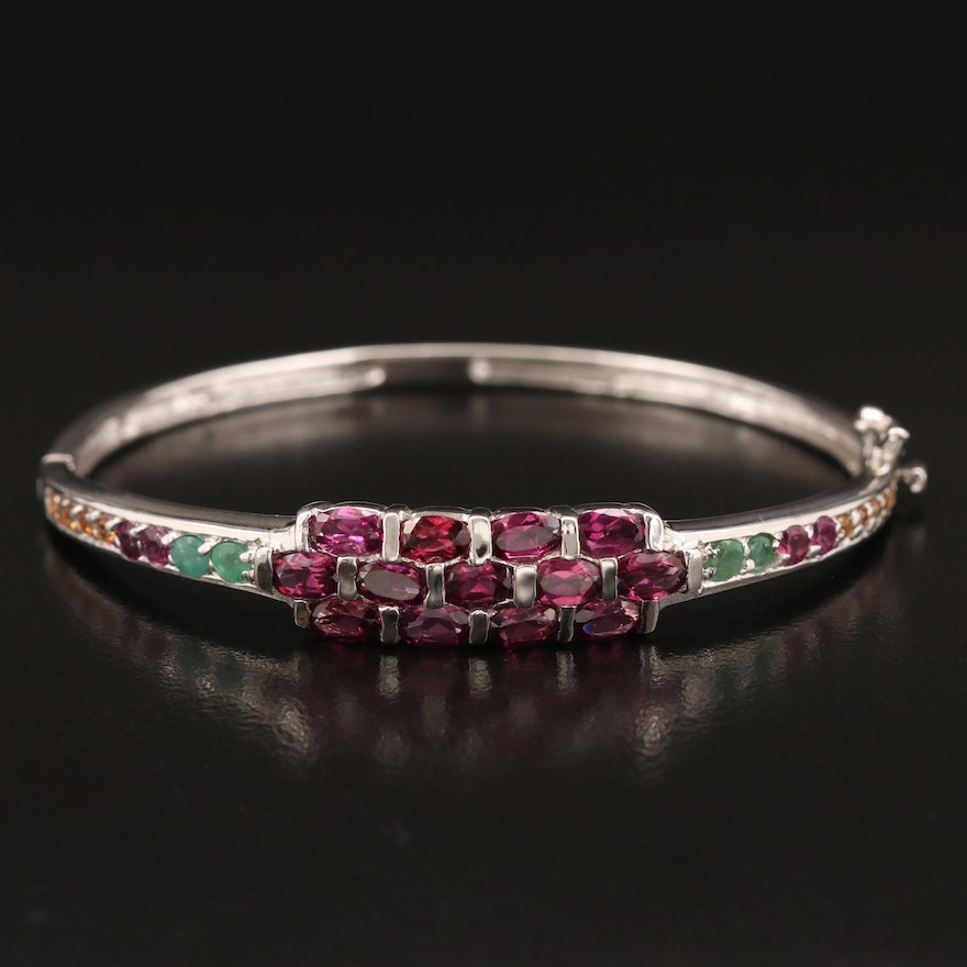 Sterling Silver Garnet, Emerald and Sapphire Hinged Bangle