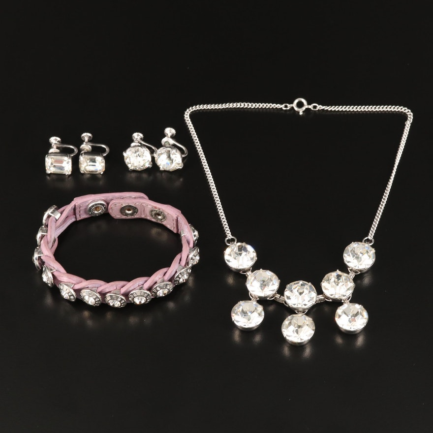 Rhinestone Jewelry Assortment Featuring Henri Bendel Leather Bracelet