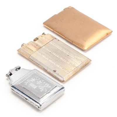 Lido and Elgin American Cigarette Cases with Built in Lighter, One with Compact