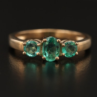 10K Emerald Three Stone Ring