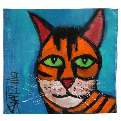 Michael Swartzmiller Acrylic Painting of Tabby Cat, 2020
