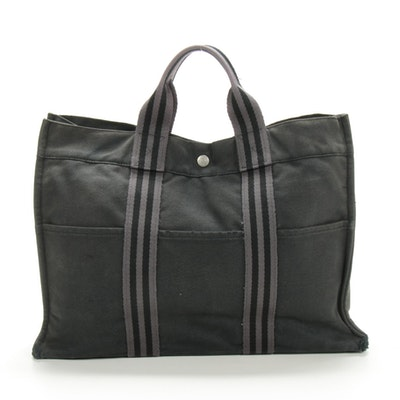 Hermès Paris Fourre Tout GM Tote in Black/Grey Canvas