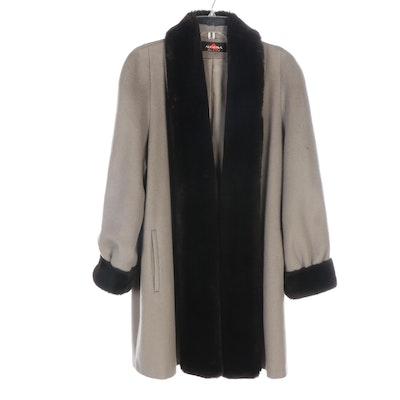 Alorna Taupe Gray Woolen and Dark Brown Faux Fur Coat