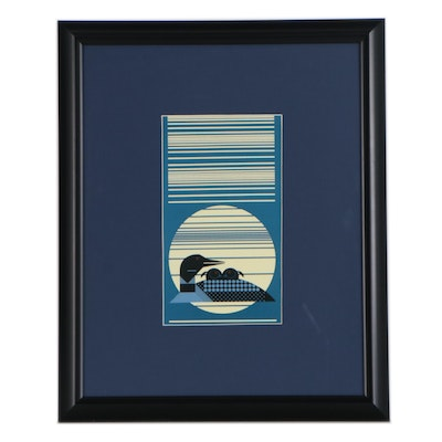 """Offset Lithograph after Charley Harper """"Loon Rise"""", 21st Century"""
