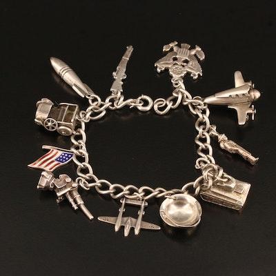 Vintage Sterling Military Themed Charm Bracelet