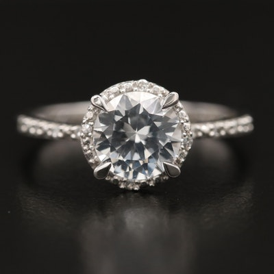 Sterling Sapphire and Diamond Halo Ring