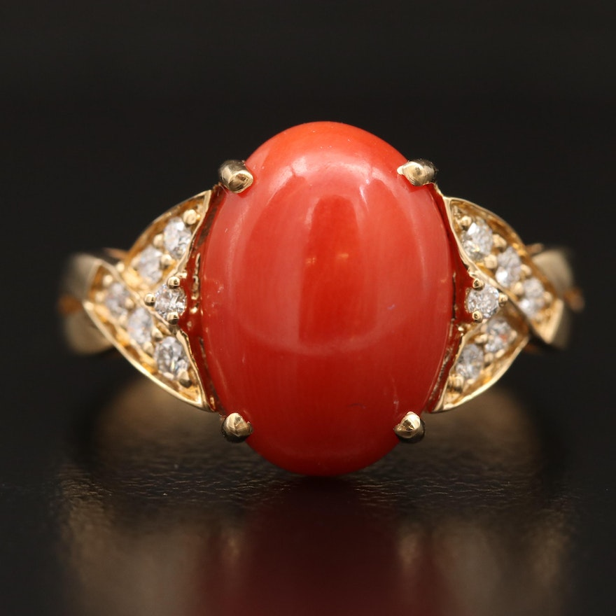 18K Coral and Diamond Ring