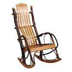 Primitive Style Oak and Hickory Branch Rocking Chair