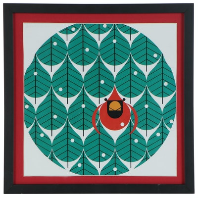 """Offset Lithograph after Charley Harper """"Coniferous Cardinal"""", 21st Century"""