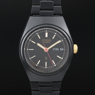 "Citizen ""CQ"" Day-Date Black and Gold Tone Quartz Wristwatch"