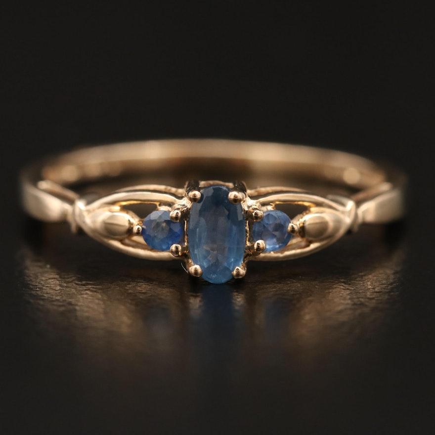 10K Sapphire Three Stone Ring