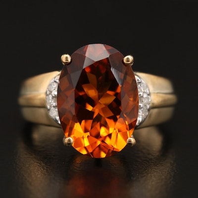 9K Citrine and Diamond Ring