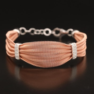 Sterling Silver Mesh Ribbon with Cubic Zirconia