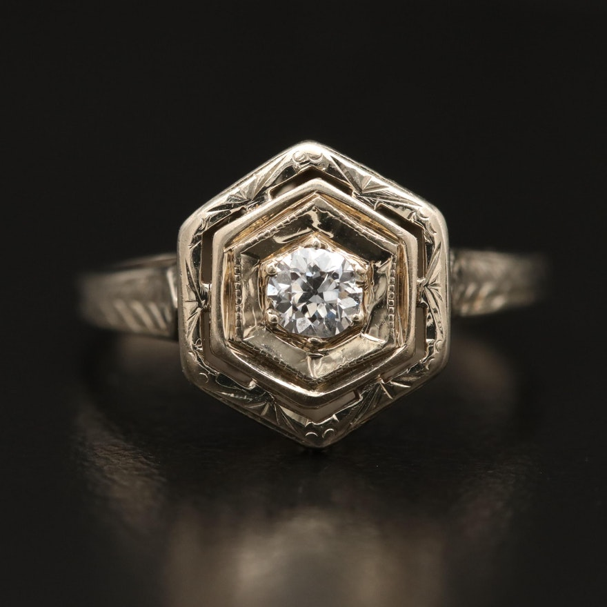Art Deco 14K Diamond Openwork Ring