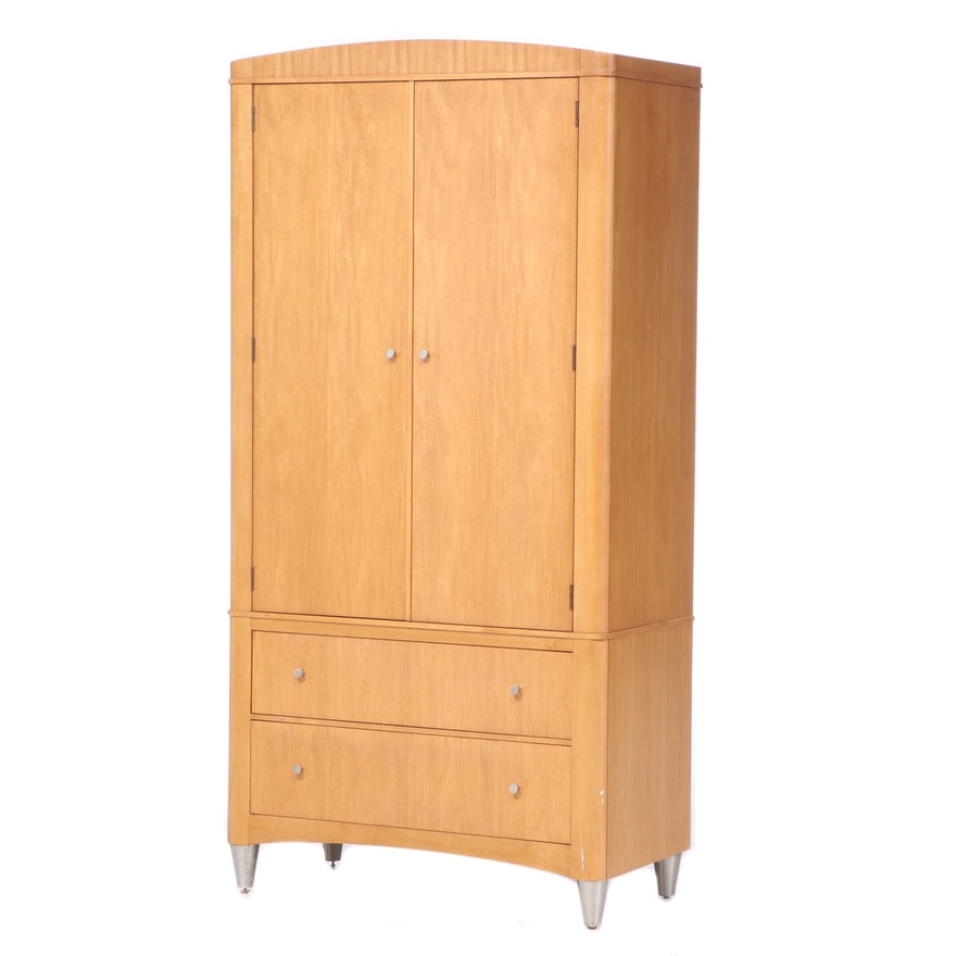 "Ethan Allen ""Radius"" Modernist Style Maple Media Wardrobe, Late 20th Century"