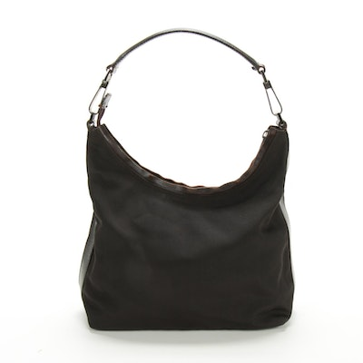 Gucci Nylon and Leather Shoulder Bag in Black