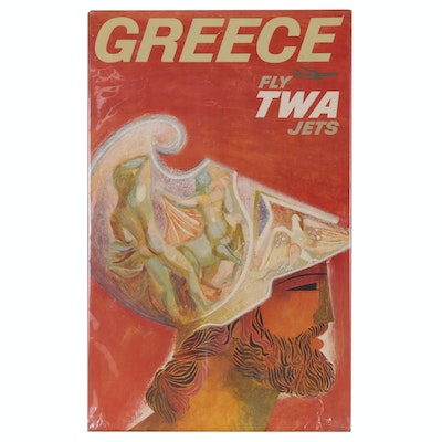 "Offset Lithograph after David Klein ""Greece, Fly TWA Jets"", Late 20th Century"