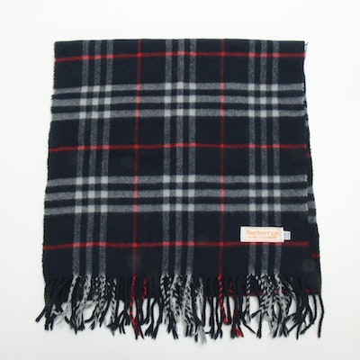 Burberrys Check Patterned Fringed Cashmere Scarf