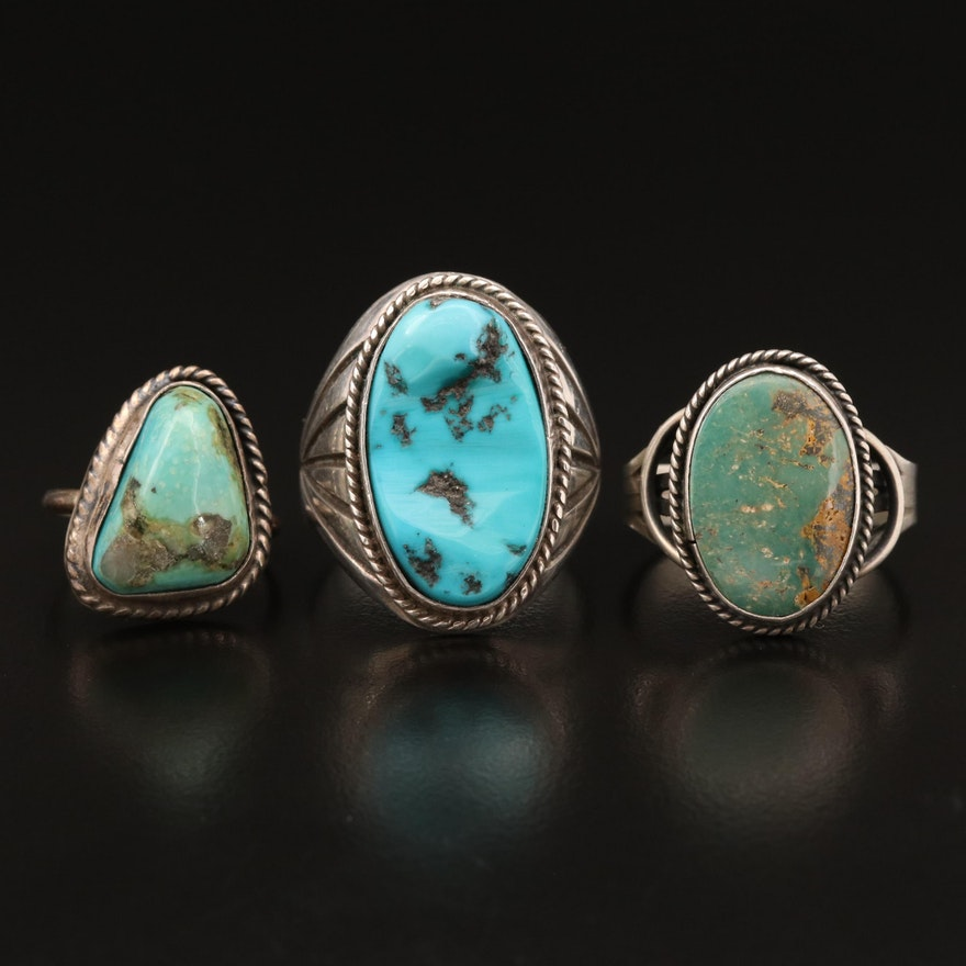 Signed Western Sterling Silver Turquoise Rings